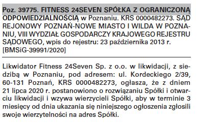 Fitness 24Seven ogłoszenie o likwidacji